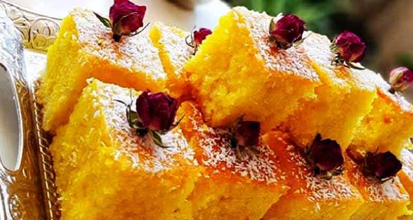طرز تهیه کیک باقلوایی زعفرانی