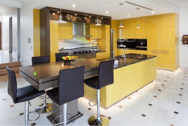 دکوراسیون آشپزخانه با رنگ زرد