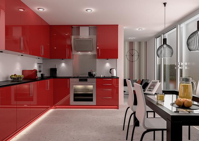 دکوراسیون آشپزخانه لوکس با قرمز