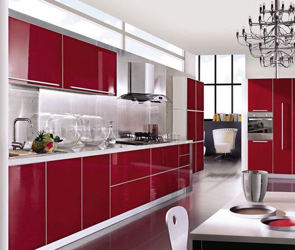 دکوراسیون آشپزخانه با کابینت قرمز