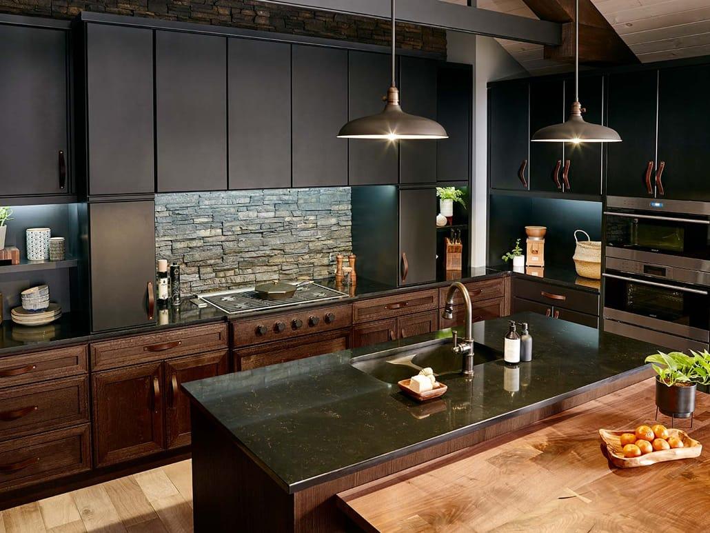 دکوراسیون آشپزخانه مدرن با گرانیت و چوب