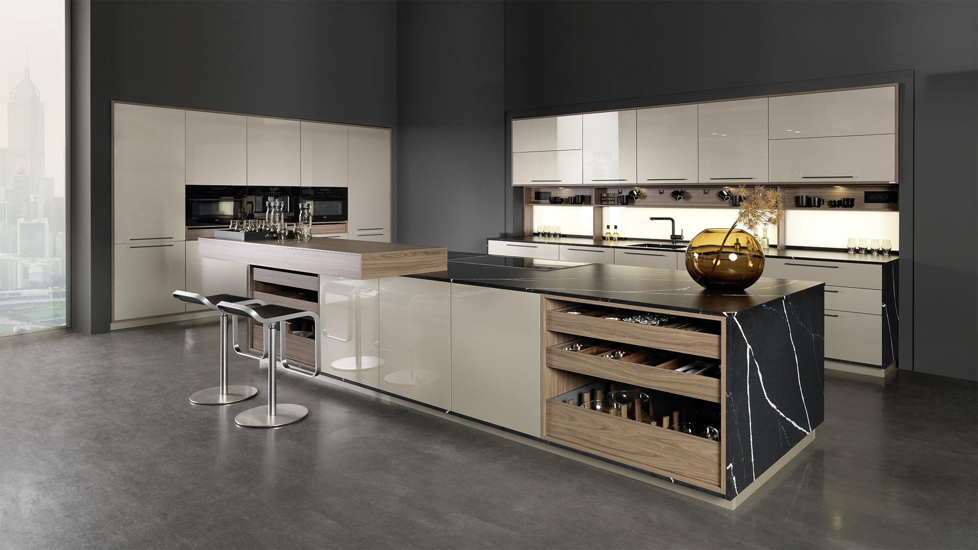دکوراسیون آشپزخانه با رنگ خاکستری مدرن