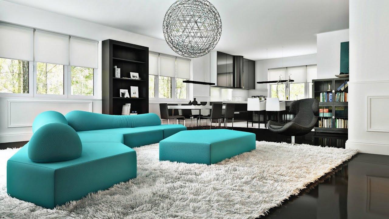 دکوراسیون داخلی منزل سفید و آبی