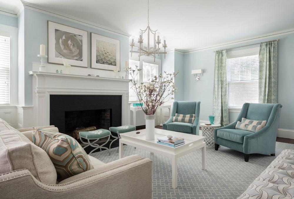 دکوراسیون منزل با رنگ آبی و سفید