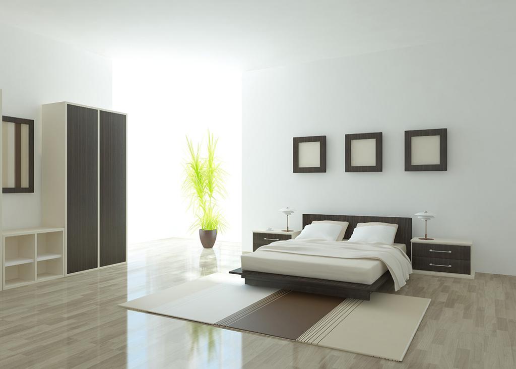 نورپردازی اتاق خواب با تخت مدرن