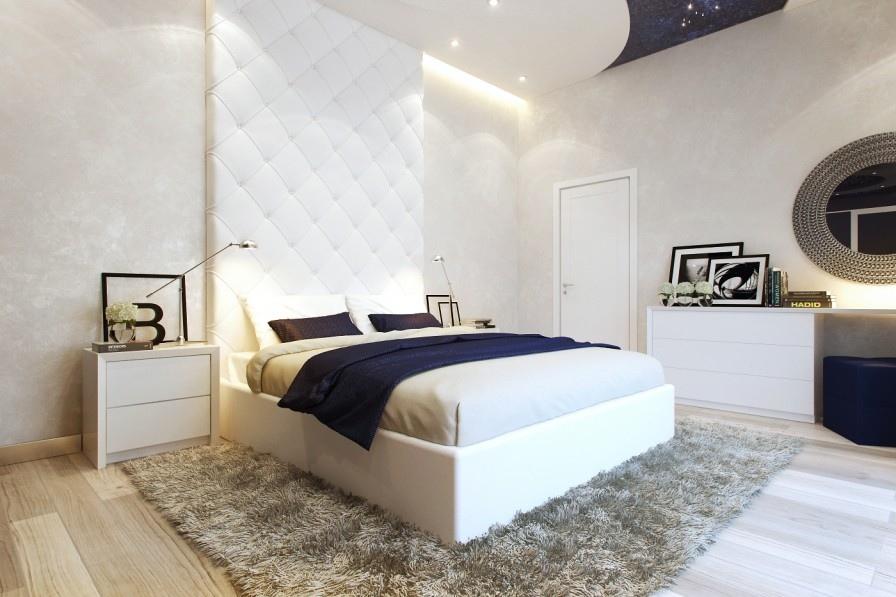 دکوراسیون اتاق خواب سفید و سورمه ای