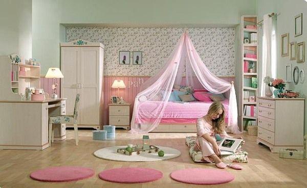 دکوراسیون اتاق خواب دخترانه صورتی