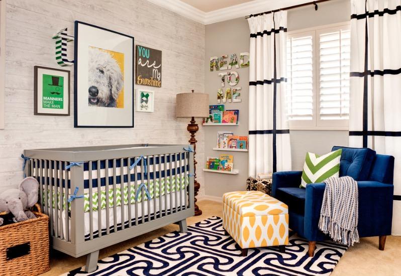 دکوراسیون اتاق کودک با مبل آبی