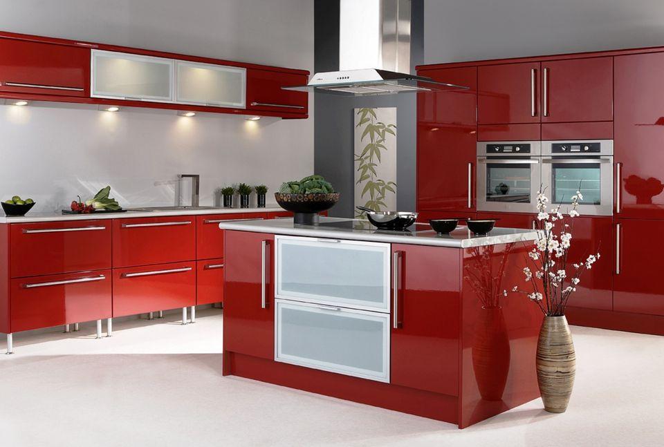 کابینت آشپزخانه هایگلاس قرمز