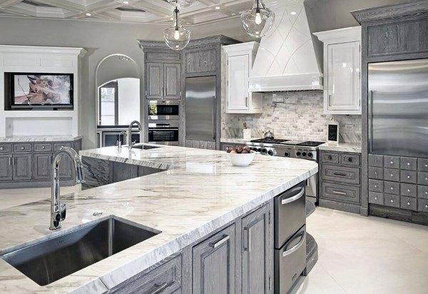 کابینت آشپزخانه طوسی با سنگ گرانیتی