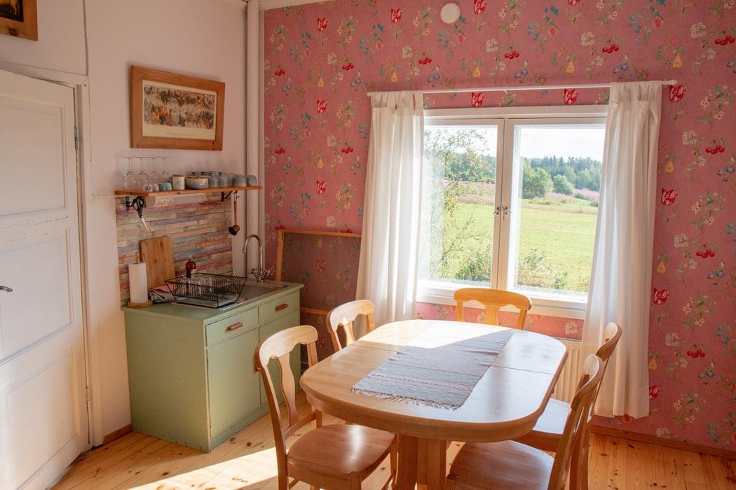 کاغذ دیواری گل گلی آشپزخانه غذا خوری
